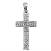 9ct white Gold 0.16ct Diamond set cross pendant